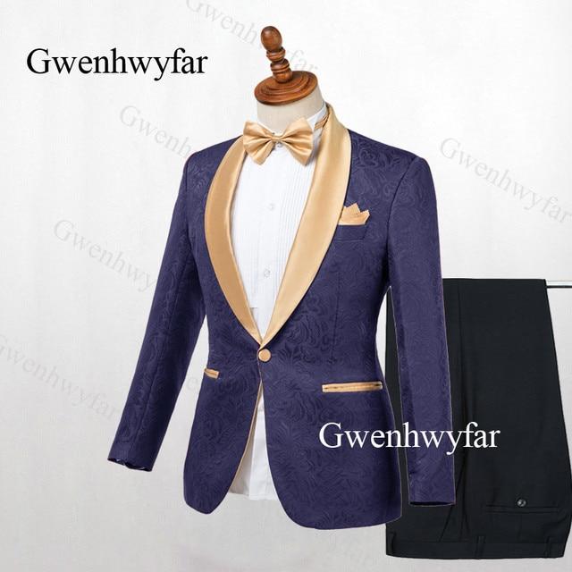 Gwenhwyfar Erkek Takım Elbise Lacivert Jakarlı 2019 Altın Yaka Damat Smokin Parti Balo Erkek Takım Elbise Düğün takımları (Ceket + pantolon)