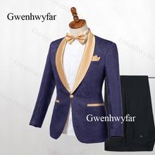 Gwenhwyfar Men Suits Navy Blue Jacquard 2019 Gold Lapel Groom Tuxedos Party Prom Men Suits Wedding suits ( Jacket+Pants)