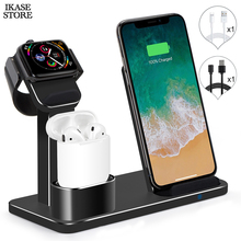 Ikase store 3 in 1 Wireless Charger Stand For iphone Qi Wireless Charger Dock For Airpods Fast Wireless Charger For Apple Watch