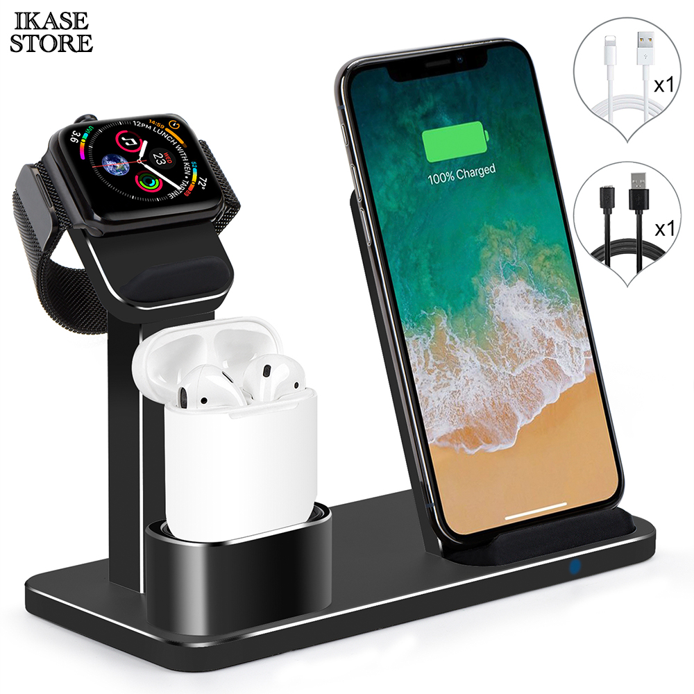 Ikase store 3 in 1 Wireless Charger Stand For iphone Qi Wireless Charging Dock For Airpods Fast Wireless Charger For Apple Watch
