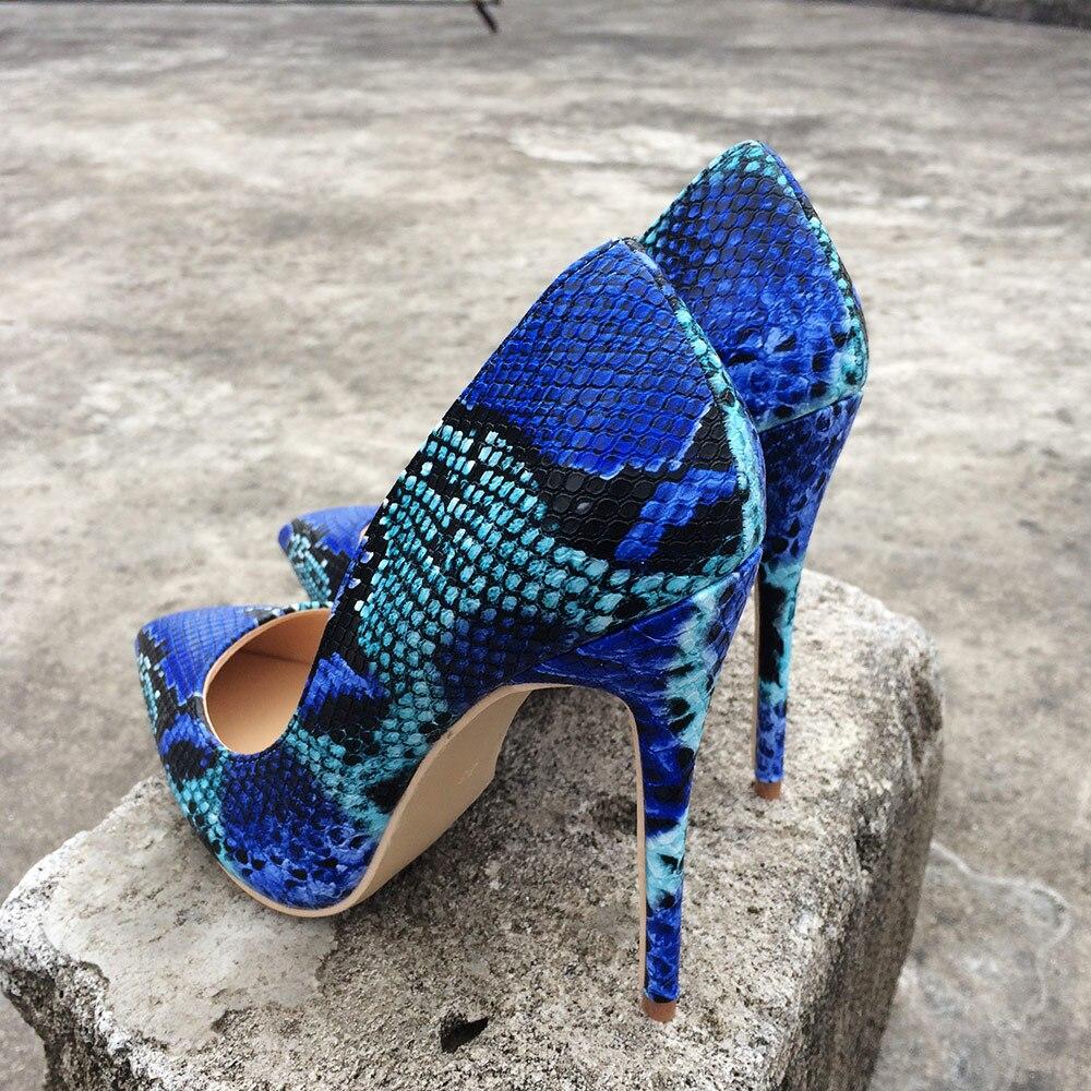 Veowalk 10cm Heels Pompes Talons Glisser Sur De Bout Heels Fête Hauts Bleu Impression 12cm Serpent Stiletto Femmes Sexy En Dames Chaussures Cuir 8cm Pointu Super Heels rBfr64q
