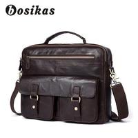 BOSIKAS Men Briefcases Genuine Leather Men's bags Crossbody Bags Retro Totes Laptop Bag Men's Shoulder Bag Handbags Bolso Hombre