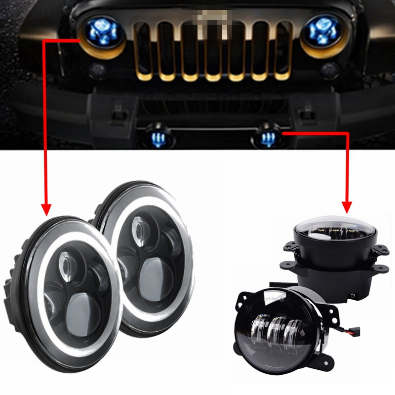 1 set 7 40w LED Headlights H4 H13 Hi/lo with White Yellow Angel Eyes with 30W 4 LED Front Bumper Light Bulb for jeep 2pcs 2017 new design 7 inch 40w motorcycle led auto angel eyes led headlight bulb with high quality