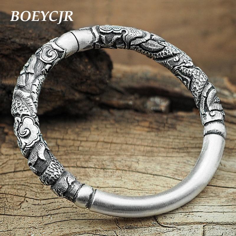 BOEYCJR S999 Bracelets et Bracelets en argent Sterling bijoux fins rétro fait à la main Dragon Totem motif bracelet ouvert pour femme 2019