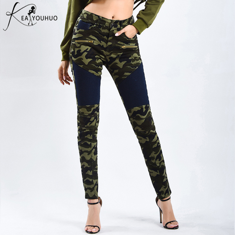 2018 Winter Joggers Women Pencil Plus Size   Jeans   Woman High Waist Camouflage Army Pants Leggings Trousers Zipper Fly Patchwork