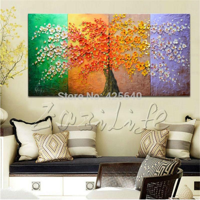 Olejomalba na plátně Nástěnné obrazy Obrazy pro obývací pokoj Stěna více panelů Plátno Umělecká paleta Nůž Ručně malovaný strom