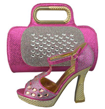 Fashion Wedding Shoes Italian Shoe And Bag Set For Party In Women High Quality Italian Shoes With Matching Bags Fuchsia 1308-31