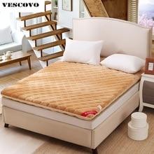 Colchón de terciopelo cálido de franela, king queen, tamaño doble, lana, mobiliario de dormitorios residenciales