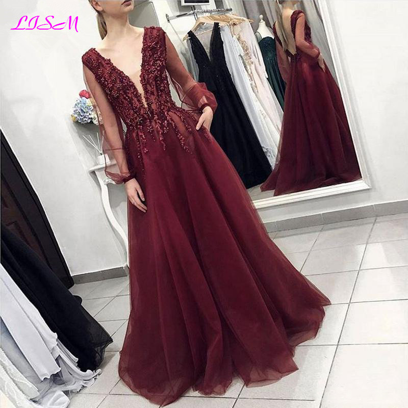 Burgundy Sexy Deep V-Neck Evening Dresses Long Sheer Sleeves Tulle Formal Party Gowns Vintage Appliques Bead Backless Prom Dress