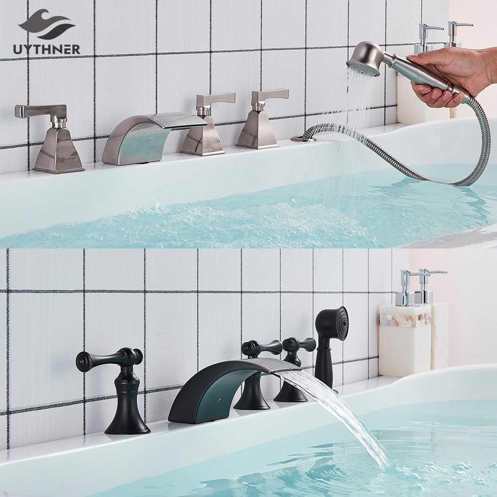 Uythner Bathtub Faucet Mixer Basin Tap Wide Spout Waterfall Tub Bathroom Faucet Hot And Cold Water Mixer With Hand Shower-in Shower Faucets from Home Improvement    1