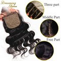 7A Malaysian Silk Base Closure 4*4  Body Wave  Silk Closure Free Middle Part cheap Silk Base Closure Hidden Knots Free Shipping