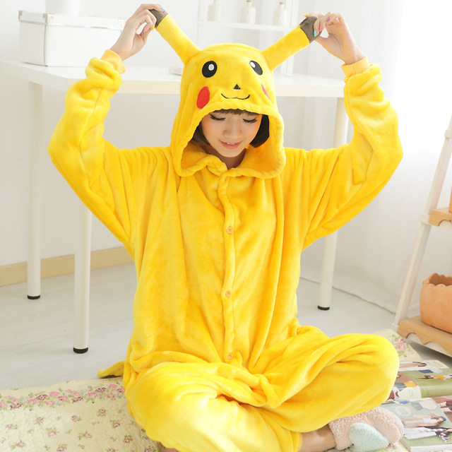 d3778873d5b7 Flannel Warm onesies for adults onesie home clothing sets Pikachu pajamas  woman cartoon Child cosplay christmas