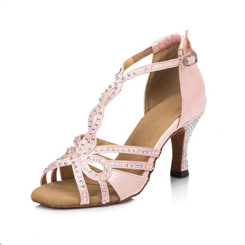 ФОТО Top Quality Women Latin Dance Shoes Rhinestone Brand Ballroom Dance Shoes For Girls Dansschoenen Jazz Shoes Free Shipping