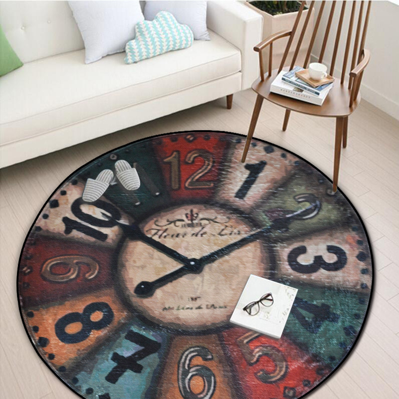 Vintage Wall Clock Printing Chair Mat Area Rug Baby Crawling Rugs Yoga Mats Home Decoration Big Round Carpet For Living Room