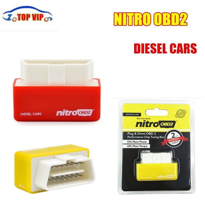 10 шт. Бесплатная доставка Супер NitroOBD2 Diesel автомобиль, бензин cartuning коробка подключи и Драйв OBD2 чип morepower и больший крутящий момент диагностич...