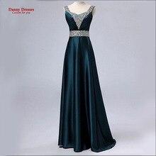 New 2016 Dark Green V Neck Fashion Formal Robe de soiree Plus size Party vestido de
