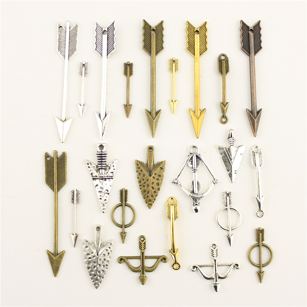 10 pçs encantos para fazer jóias arco e flecha tiro com arco e flecha acessórios peças criativo artesanal presentes de aniversário
