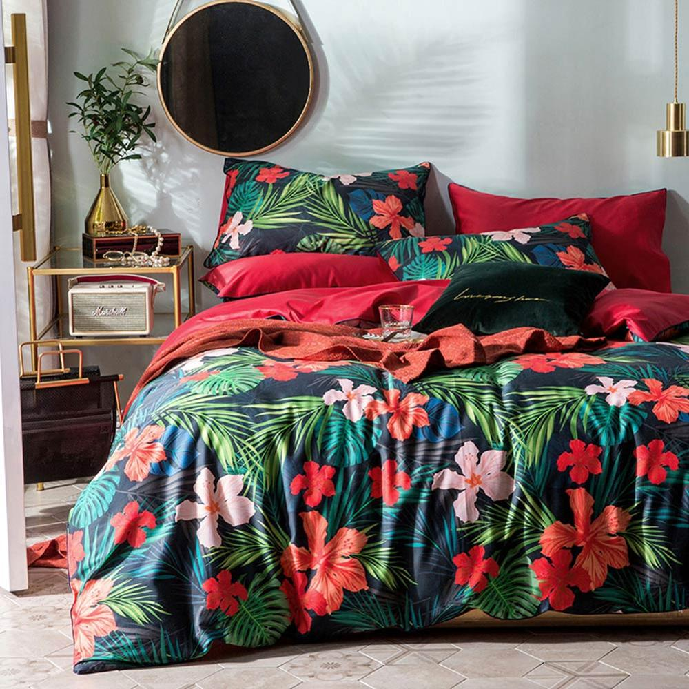 2019 Red Flowers Green Leaves Duvet Cover Set Luxury Egyptian Cotton Fabric Bedlinens Queen Size Bedding Set Bedsheet Bedspread