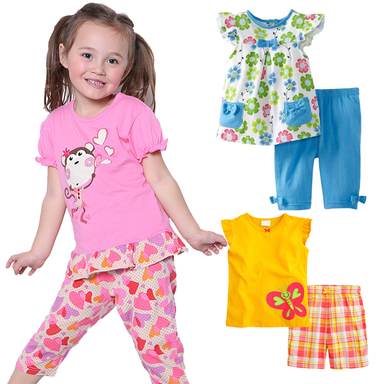 Summer Children Girls Clothing Sets Short-sleeved T-shirt + Shorts Kids Clothes Sets Baby Girl Summer Clothes Korean Fashion