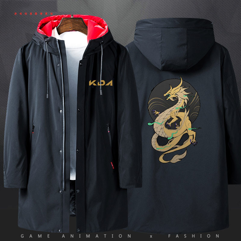 [STOCK]2019 Game LOL K/DA KDA Akali Jacket Hoodies Hoodie Winter Long Coat Halloween Cosplay Costume for Men S-4XL