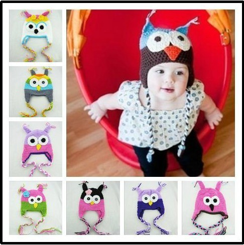cap Multicolor Infant Toddler Handmade Knitted Crochet Baby Hat owl hat Cap  with ear flap Animal Style For Girl Boy Gift 08bd791f243