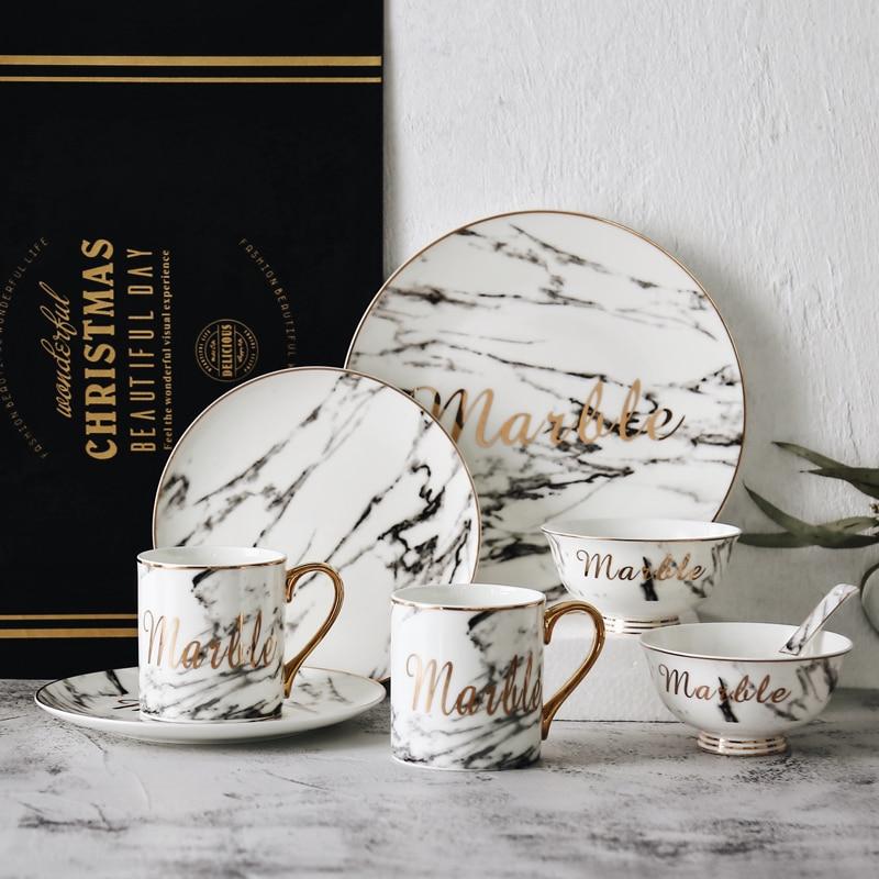 La mejor vajilla de porcelana de diseño creativo, vajilla dorada de estilo europeo con diseño de mármol, juego de vajilla de cerámica de lujo, melamina de China