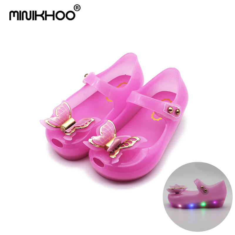 Mini Melissa LED Flash Jelly Sandals 2018 New LED Girl Shoes Bow Princess Jelly Shoes Butterfly Princess Sandals Mini Melissa