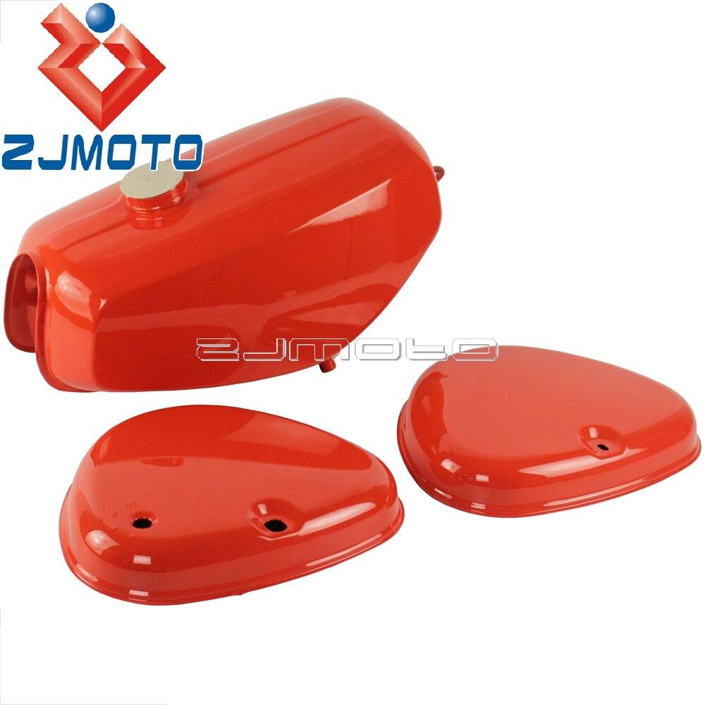 Bemaltes réservoir de gaz + Seitendeckel Orange pour Simson S51 S50 S70 Motorrad Kraftstofftank réservoir de carburant
