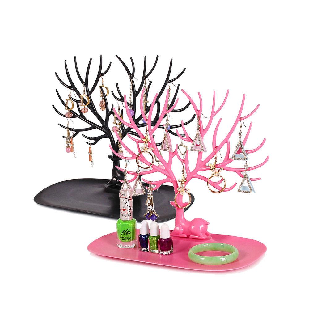 Earrings Necklace Ring Pendant Bracelet Jewelry Display Stand Tray Tree Storage Racks Organizer Holder 25*15*22cm