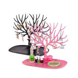 Маленький серьги с оленями цепочки и ожерелья кольцо ювелирные браслеты и кулоны Дисплей Стенд лоток дерево хранения стойки Организатор