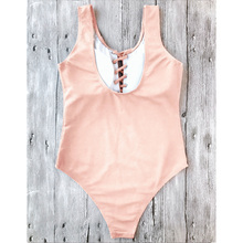 Women New  Lace Up One-Piece Women Swimsuit Sexy High Waisted Solid Female One Piece Swimwear Backless Beachwear