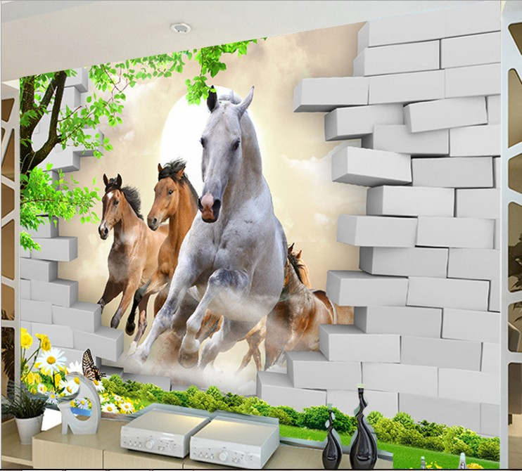 New HOT Running Horse Brick Large Mural Wall Paper 3d Photo Fresco Chinese Style Wallpapers Bedroom TV Back Wall Covering Cloth