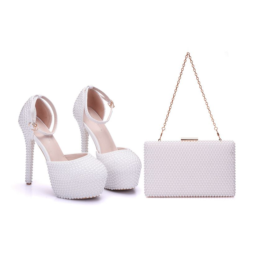 Crystal Queen Pearl White Women's Wedding High Heel Platform Lady Sandals Bridal With Matching Bags With Purse Party Dress Shoes crystal queen multicolor flower shining crystal womens flat wedding shoes matching bags clutches flats female lady party shoes