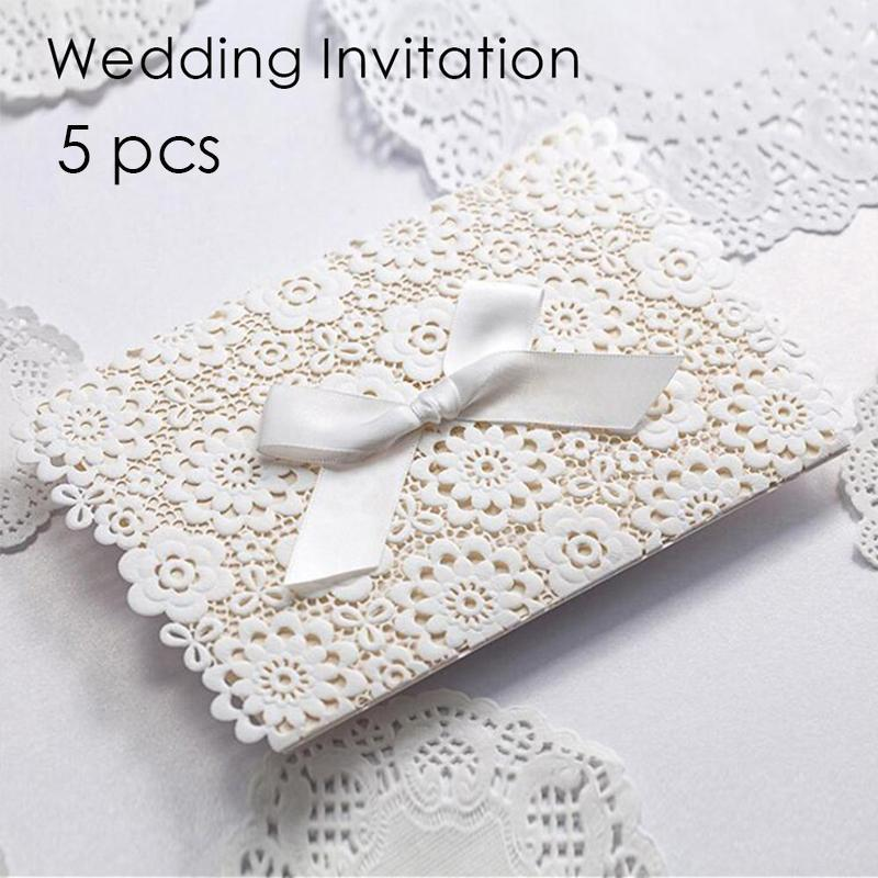 5Pcs Delicate Wedding Invitations cards White Elegant banquet Invitation Gifts Card Carved flowers Party favor Supplies 3 50pcs pack laser cut wedding invitations cards elegant flowers free printing birthday party invitation card casamento