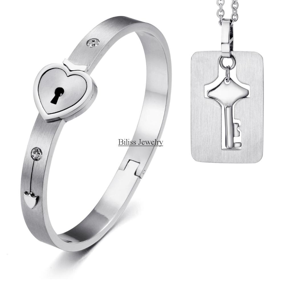 Boniskiss Necklace Bracelet Fashion Silver Heart Lock Stainless Steel Key Pendant Anium Jewelry Sets In From