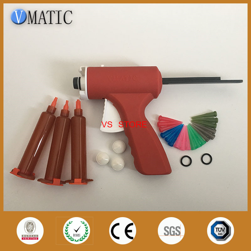 New 10ML manual syringe gun/ Epoxy Caulking Adhesive Gun single liquid glue gun/dispense gun with dispense tips & syringe barrel 100x 10ml syringe of 44