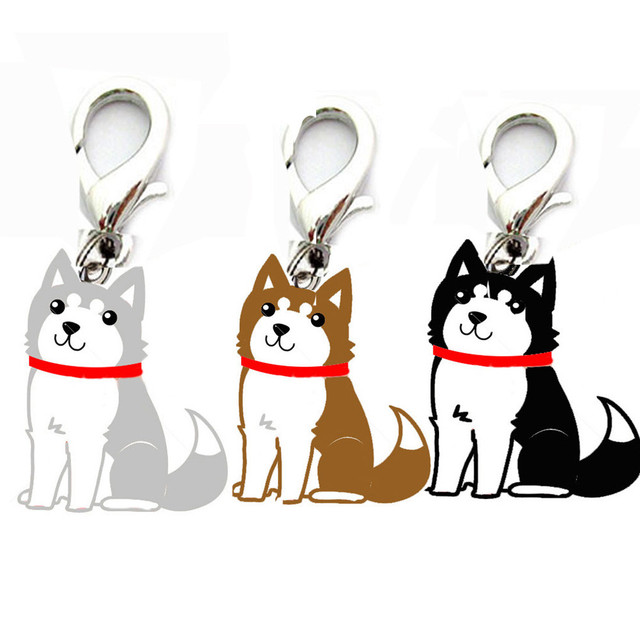 siberian husky necklace metal dog pendant necklaces animal charm christmas gifts for pet lovers dog accessories
