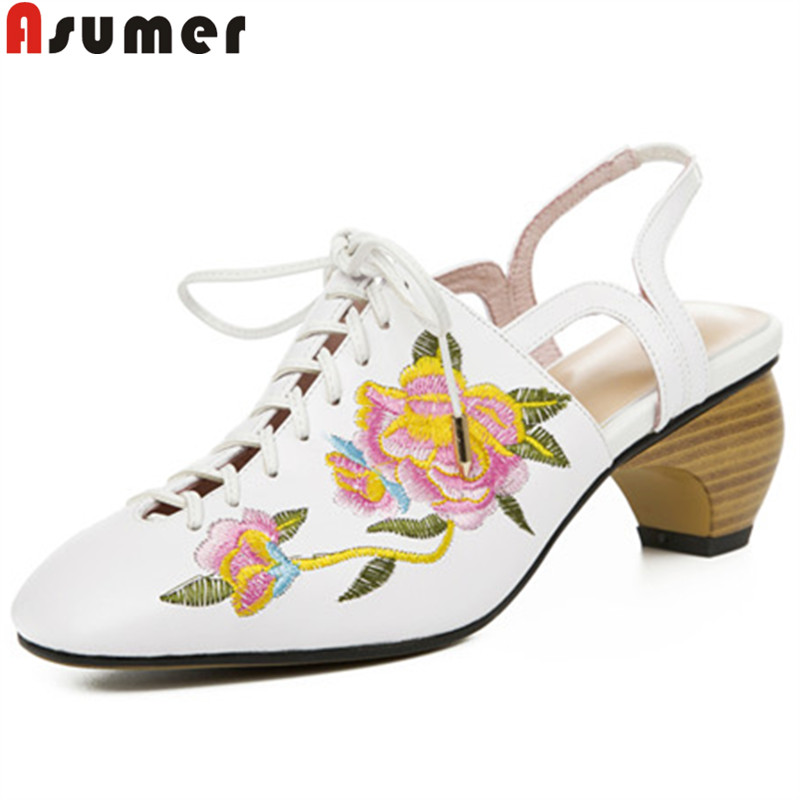 ASUMER size 34-43 fashion shoes woman square toe genuine leather shoes women high heels shoes embroider slingback female shoes  ASUMER size 34-43 fashion shoes woman square toe genuine leather shoes women high heels shoes embroider slingback female shoes