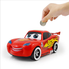 Cartoon cute red Car Piggy Bank Kids Toy Money Box Saving Deposit Boxes Electronic Enfant Children Cash Coin Safe car(China)