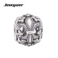 Jewyuer Flower Charms 925 Sterling Silver Jewelry Fleur De Lis Openwork Beads Fit Charm Bracelet DIY