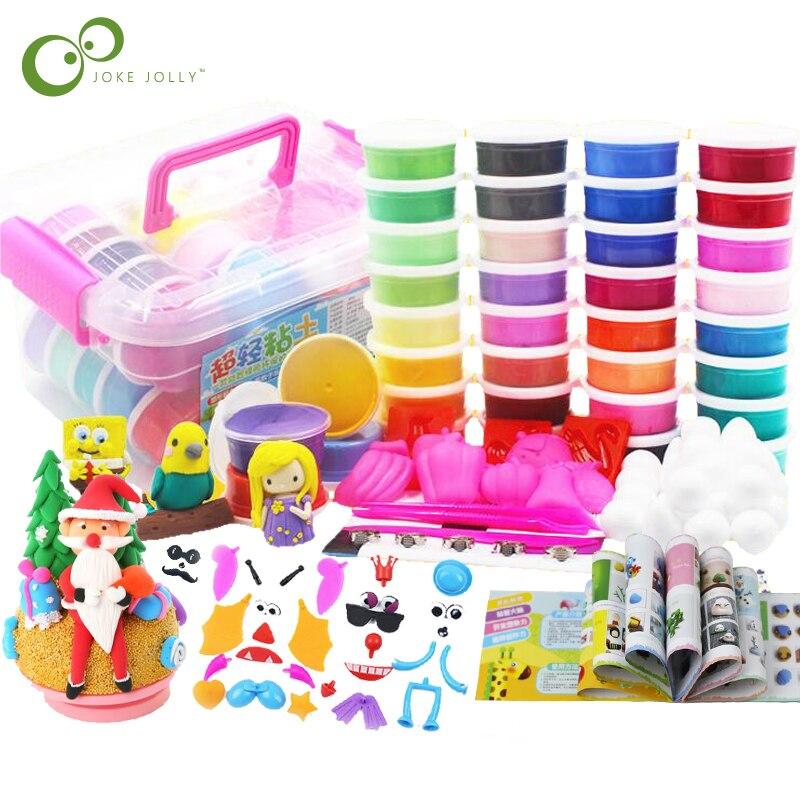36/24/12 Colors Polymer Clay Slime Fluffy Light Plasticine Modelling Clay Playdough Slimes Toys Animal Figure Creative Clay GYH