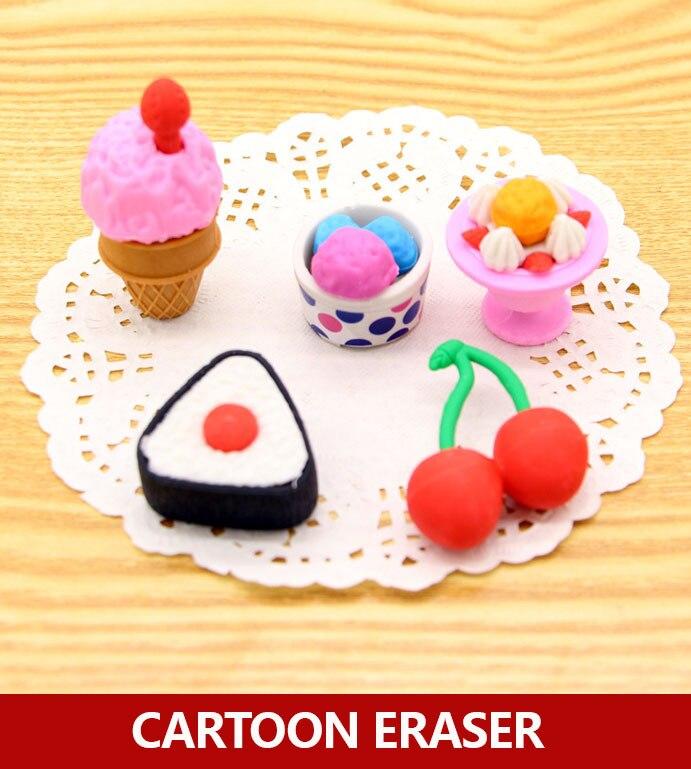 Creative Food Pencil Eraser , Cute Elephant Pencil Rubber For School Students , 8 Packs / Lot