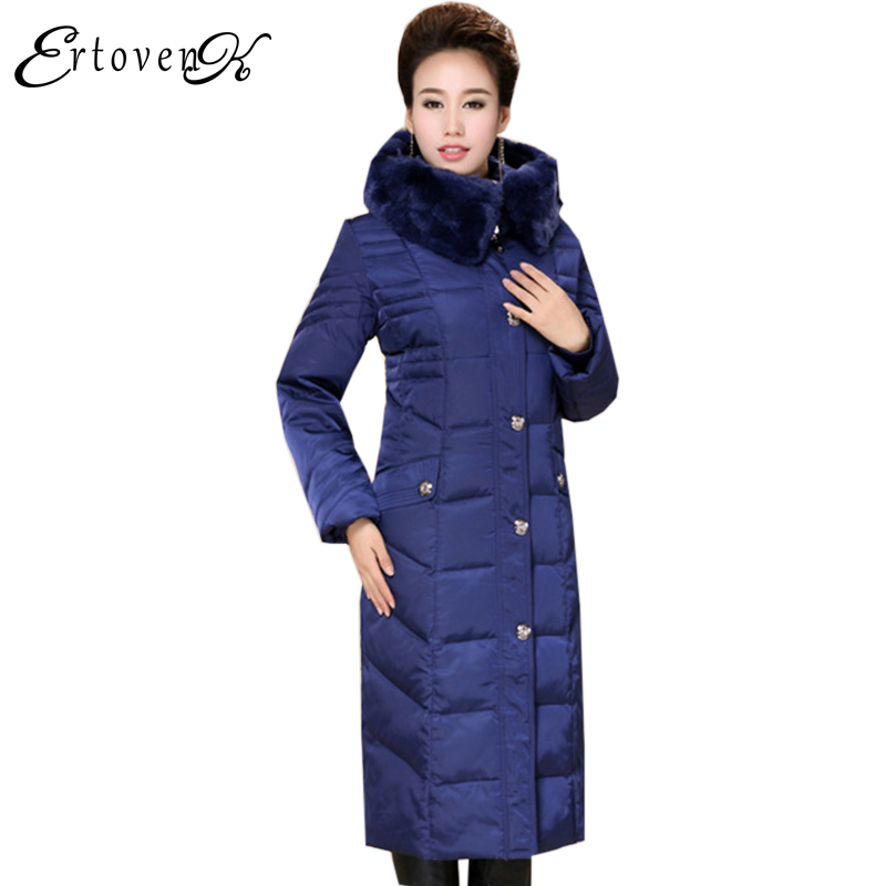 Middle-aged Coats Winter Women Top 2017New Cotton Plus Size Jackets Thicker Keep Warm Outerwear Rabbit Fur Collar Clothes LH086
