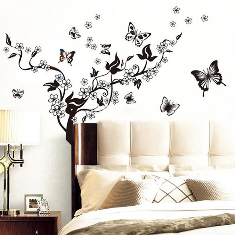 ... High Quality Flying Butterfly Love Flowers Black Tree Wall Sticker  Decor Vinyl Art Wall Decal Sticker ... Part 95
