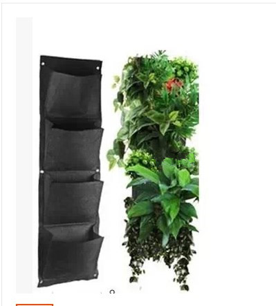 4 Layers Pocket Vertical Green Wall Planters potato bag vertical garden planter Hanging Flower Bags DIY Indoor Garden Decoration - Sinsa Home and Gardening store