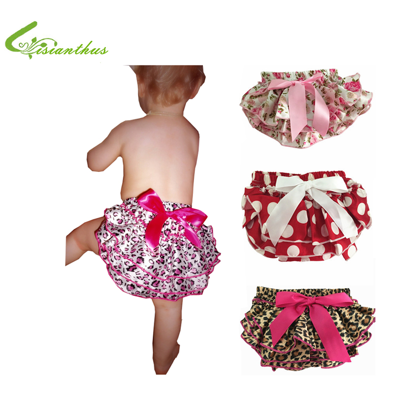 Baby Ruffle Bloomers Layer Baby Bleie Cover Nyfødte Flower Shorts med Skjørt Småbarn Cute Summer Satin Pants Free Drop Ship