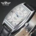 Novo VENCEDOR Relógios Oval Dial Pulseira de Couro Preto Mecânico Automático Auto vento AUTO Data Mens Masculino relógio de Pulso Relogio masculino