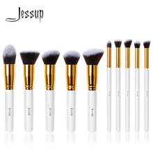 Jessup Brush Professional 10pcs Kabuki White/Gold Makeup Brushes Set Beauty Foundation Cosmetics Make up tools Synthetic Hair(China)