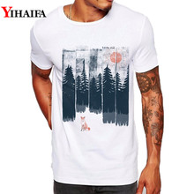 Hipster Men T Shirt Slim Fit Graphic Tee Funny Fox Forest Tree 3D Print T-Shirts Casual White Tops