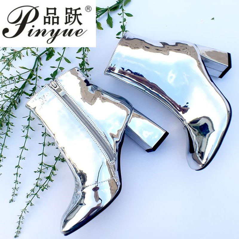 Fashion Mirror leather Party Pumps Sexy Pointed Toe ankle Boots Women Silver chunky High Heels boots